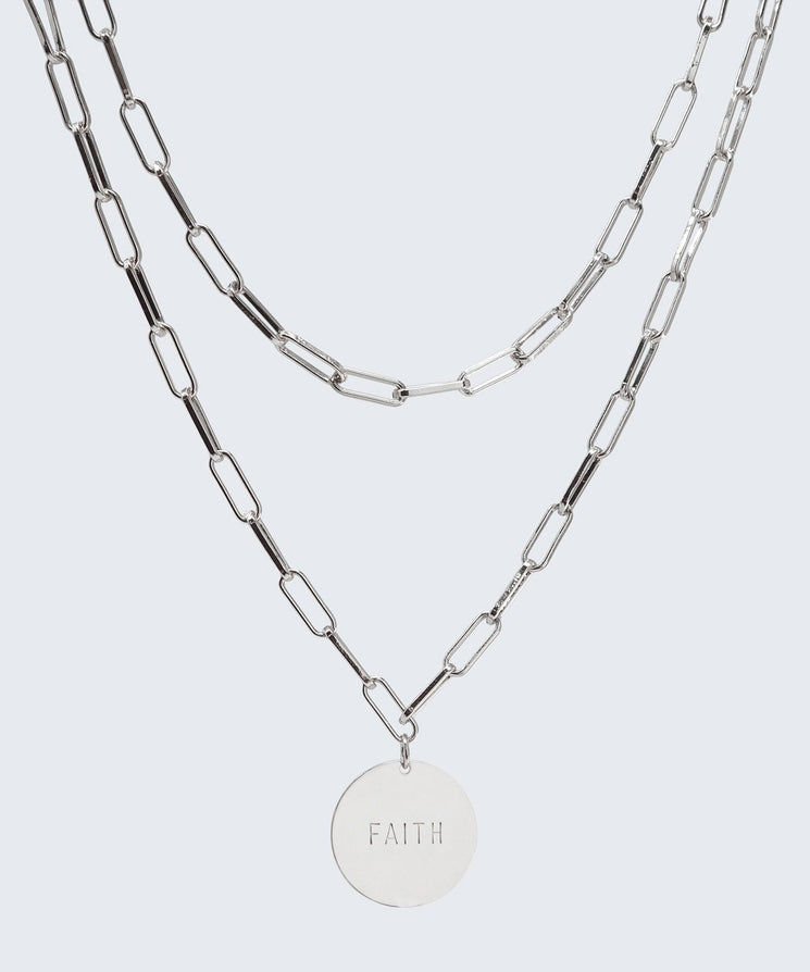 Brooklyn Double Drop Disc Necklace Necklaces The Giving Keys FAITH Silver