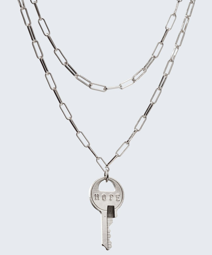 Brooklyn Double Drop Dainty Necklace Necklaces The Giving Keys HOPE Silver