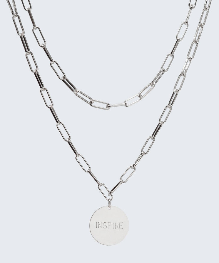 Brooklyn Double Drop Disc Necklace Necklaces The Giving Keys INSPIRE Silver