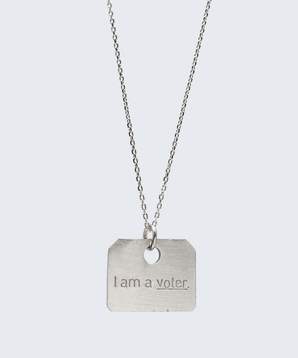I Am A Voter Square Pendant Dainty Necklace Necklaces The Giving Keys I Am A Voter Silver