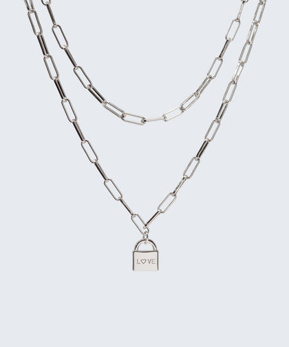 Brooklyn Double Drop Padlock Necklace Necklaces The Giving Keys LOVE Silver