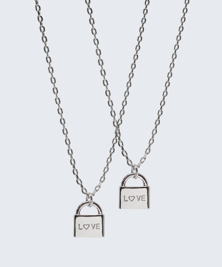 Best Friend L♡VE Mini Padlock Necklace Set (2) Necklaces The Giving Keys LOVE Silver