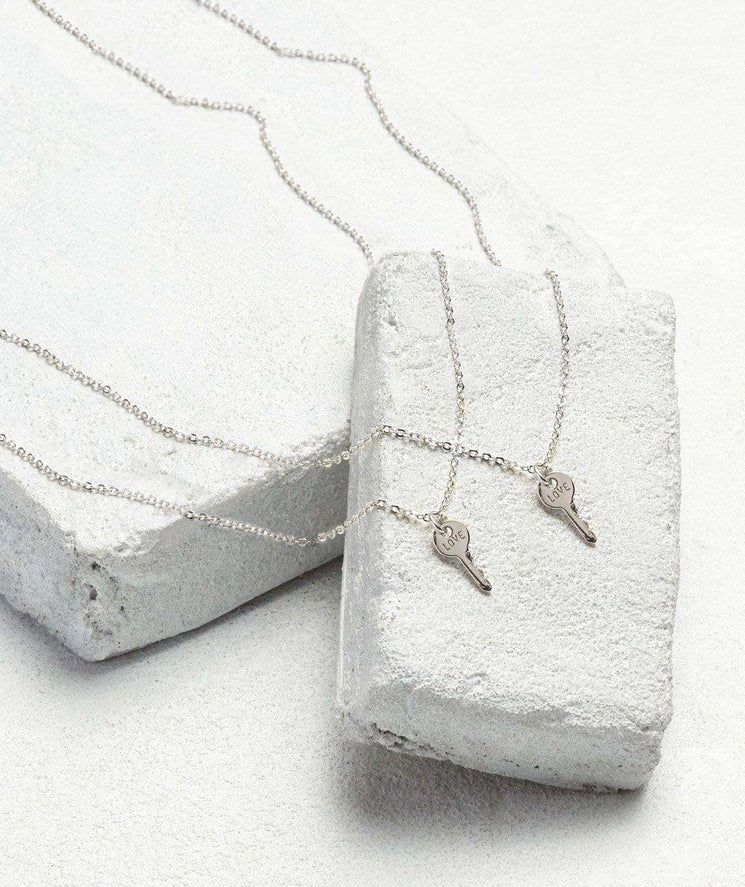 Best Friend Mini Key Necklace Set (2) Necklaces The Giving Keys LOVE Silver