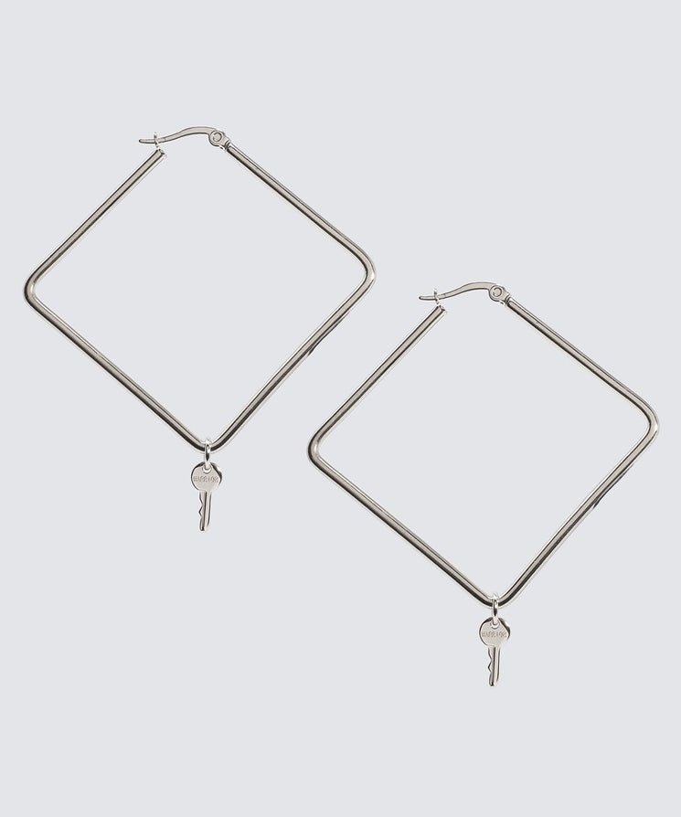 Large Square Hoop Earrings Earrings The Giving Keys Warrior Silver