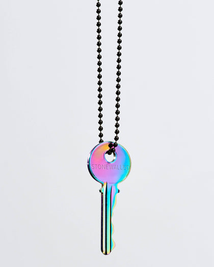 PRIDE Chrome Key Black Ball Chain Necklaces The Giving Keys STONEWALL 50 Matte Black