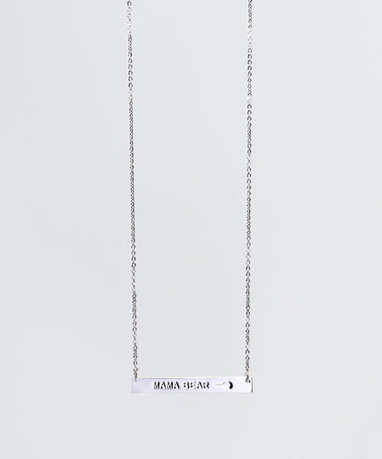 Mother's Day Mama Bear Bar Necklace Necklaces The Giving Keys MAMA BEAR SILVER
