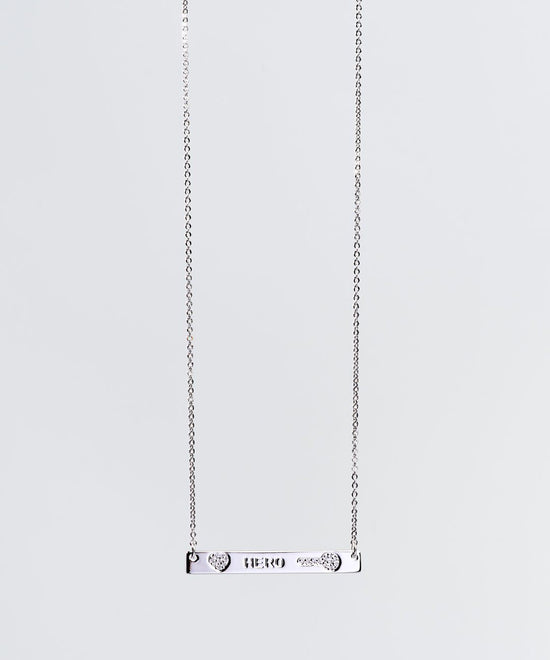Teacher's Day Pave Bar Necklace Necklaces The Giving Keys HERO SILVER