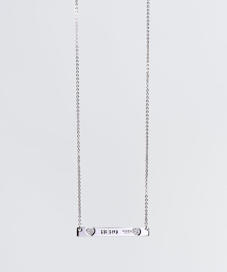Mother's Day Pave Bar Necklace Necklaces The Giving Keys Hero SILVER