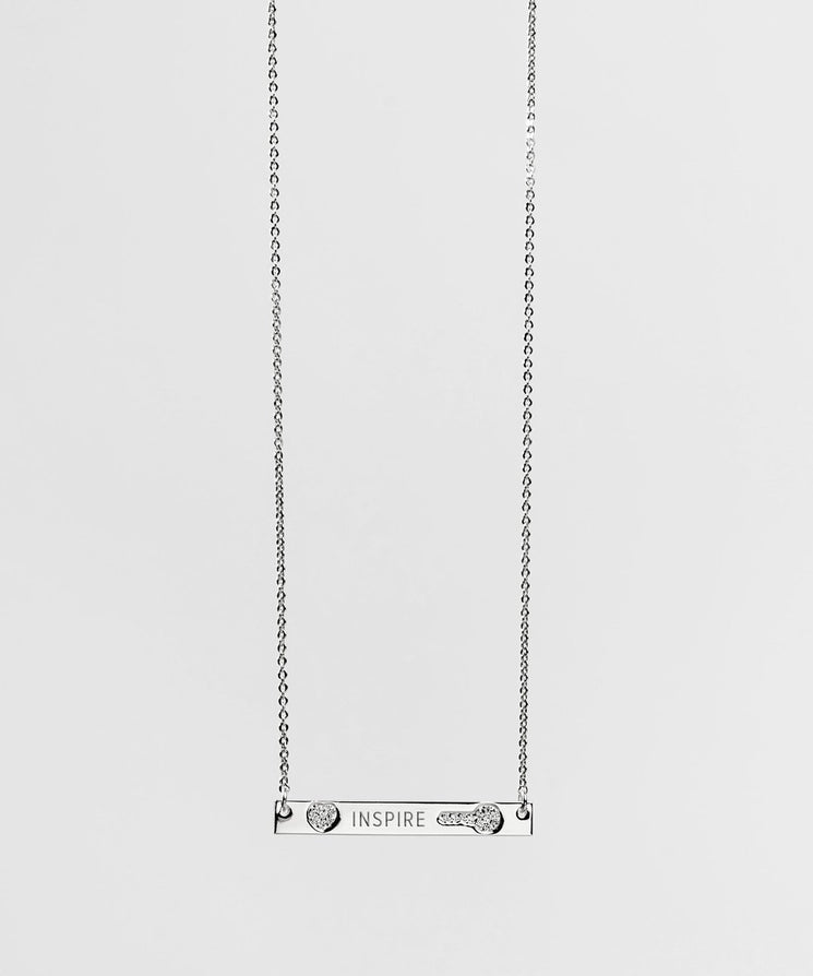 FEARLESS Pave Bar Necklace Necklaces The Giving Keys INSPIRE SILVER