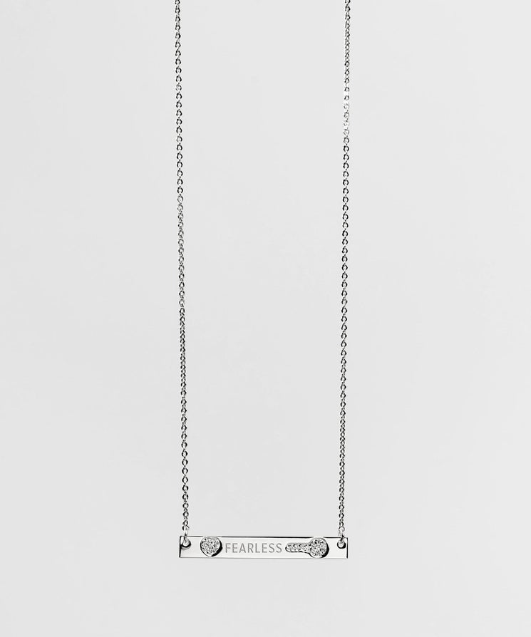FEARLESS Pave Bar Necklace Necklaces The Giving Keys FEARLESS SILVER
