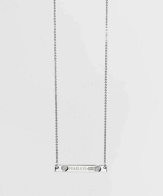 Teacher's Day Pave Bar Necklace Necklaces The Giving Keys FEARLESS SILVER