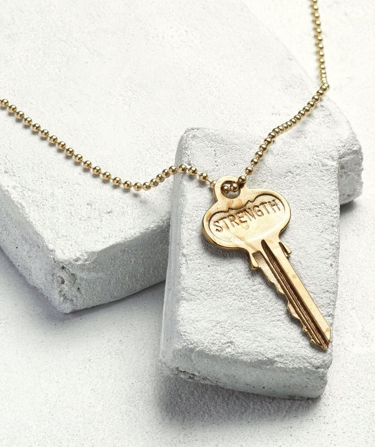 Gold Ball Chain Key Necklace Necklaces The Giving Keys STRENGTH Gold Ball