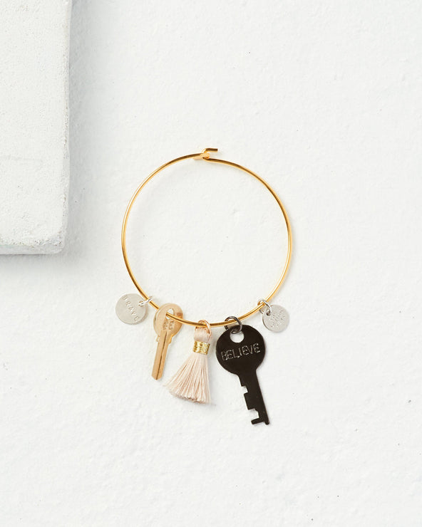 Mixed Key Charm Tassel Bracelet