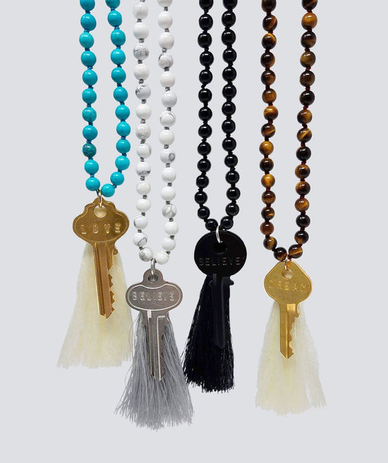 Cream Tassel for Tiger's Eye Necklace Charms The Giving Keys Cream None