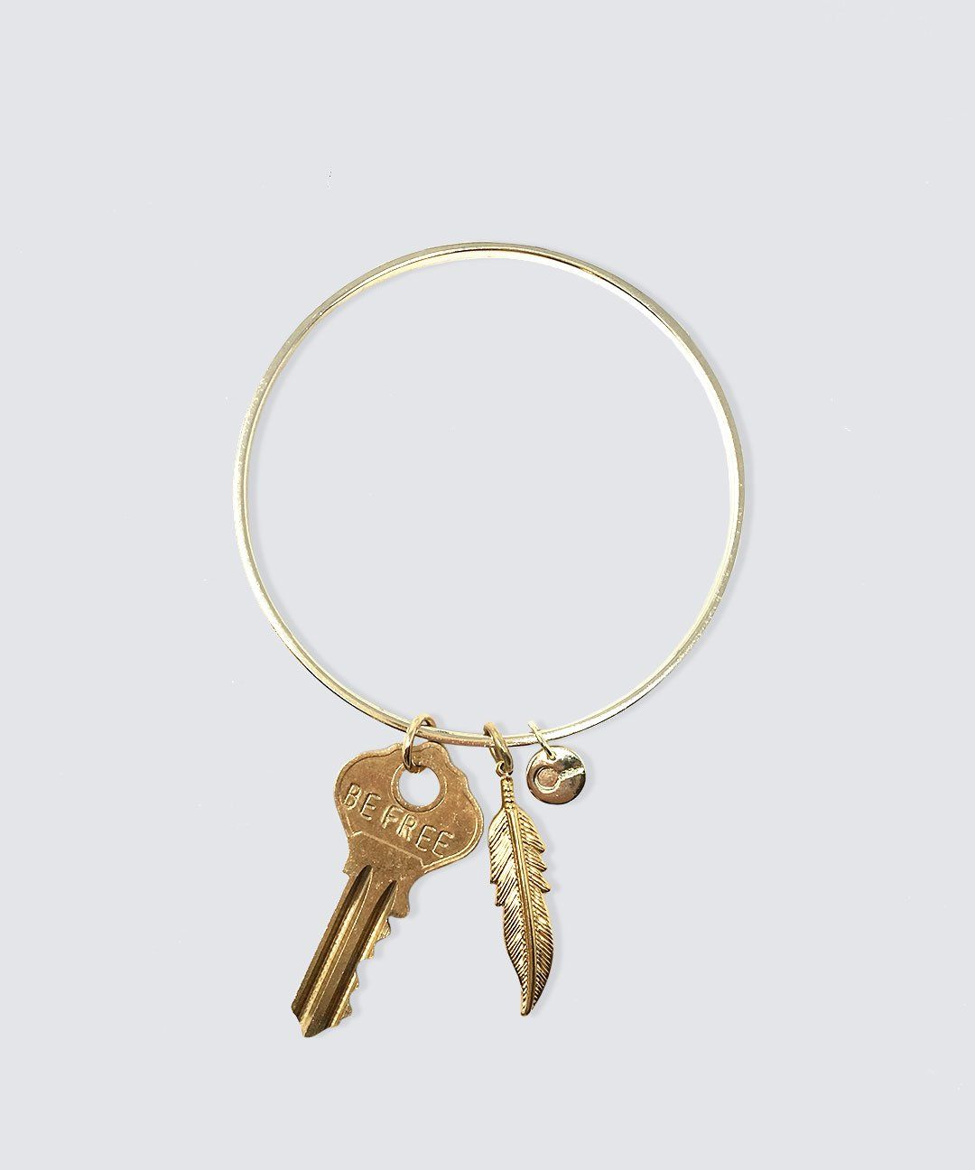 Dainty Key and Feather Bangle Bracelet Bracelets The Giving Keys Be Free Gold