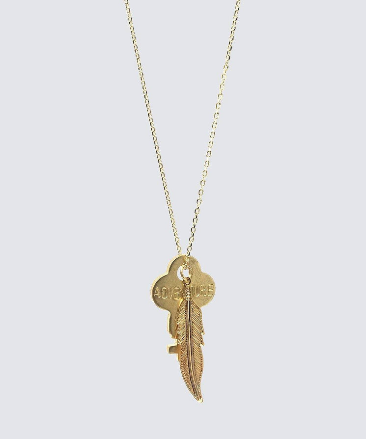 DAINTY KEY NECKLACE WITH FEATHER CHARM Necklaces The Giving Keys Adventure Gold