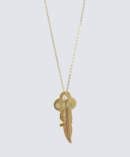 DAINTY KEY NECKLACE WITH FEATHER CHARM Necklaces The Giving Keys Be Free Gold