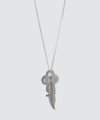 DAINTY KEY NECKLACE WITH FEATHER CHARM Necklaces The Giving Keys Be Free Silver