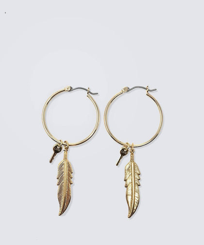"MINI KEY 1"" HOOP EARRING SET WITH FEATHER CHARM Earrings The Giving Keys LOVE GOLD"