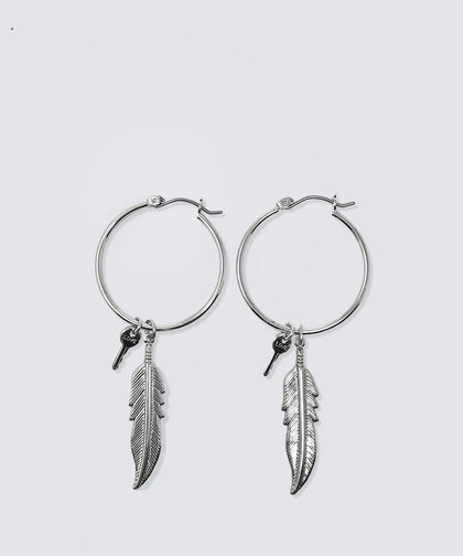 "MINI KEY 1"" HOOP EARRING SET WITH FEATHER CHARM Earrings The Giving Keys LOVE SILVER"
