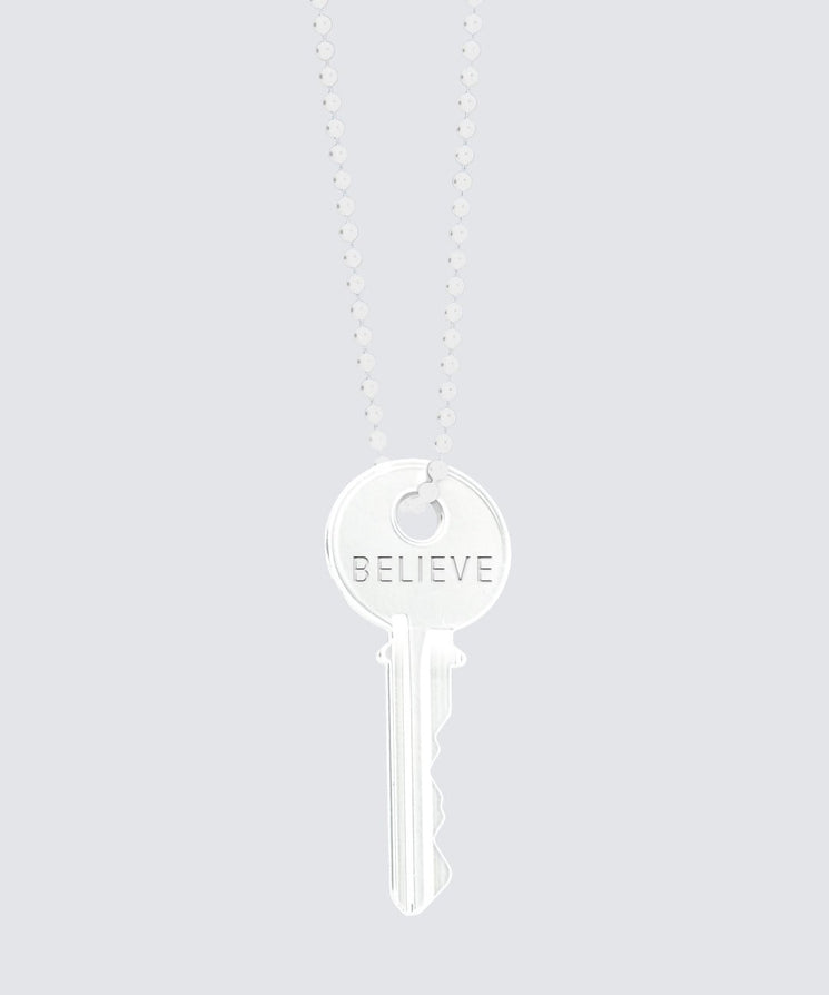 Glossy White Classic Key Necklace Necklaces The Giving Keys BELIEVE WHITE