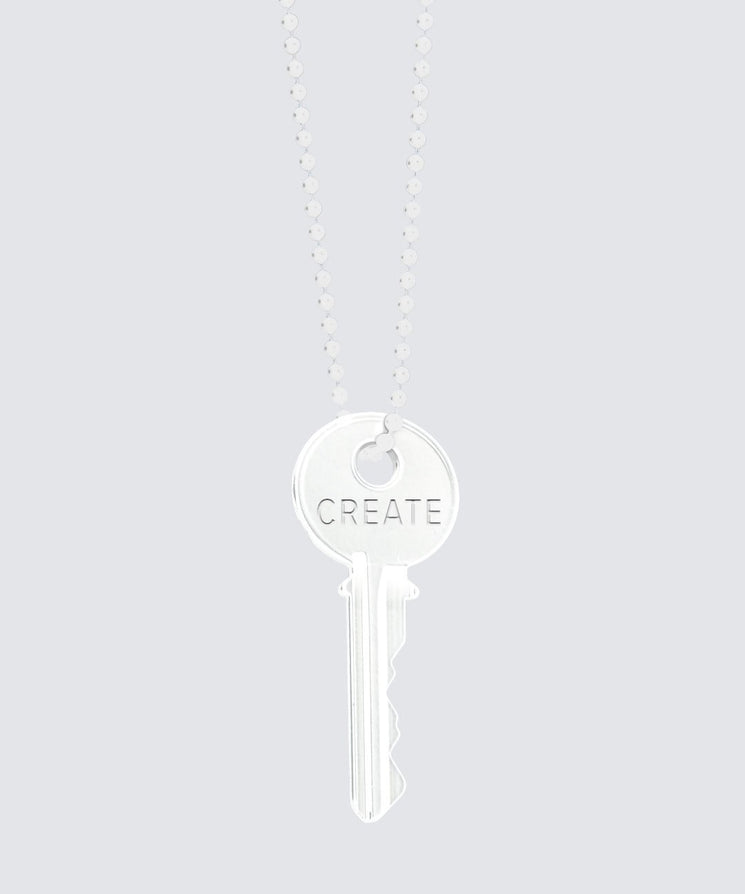 Glossy White Classic Key Necklace Necklaces The Giving Keys CREATE WHITE