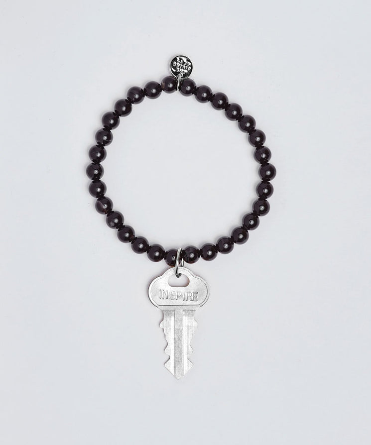 Onyx Meditation Bead Key Bracelet Bracelets The Giving Keys INSPIRE SILVER