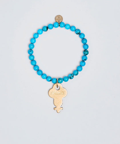 Turquoise Meditation Bead Key Bracelet Bracelets The Giving Keys STRENGTH Gold
