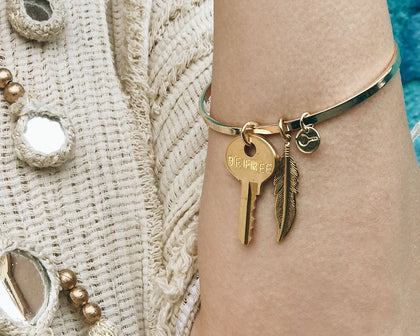 Dainty Key and Feather Bangle Bracelet Bracelets The Giving Keys | Lifestyle
