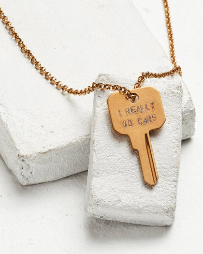 I Really Do Care Classic Necklace - DISCONTINUED 11/7/18 Necklaces The Giving Keys I REALLY DO CARE Antique Gold