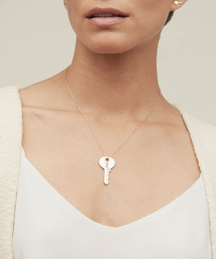 Hope Solid Rose Gold Dainty Key with Pink Sapphire Necklaces The Giving Keys | Lifestyle