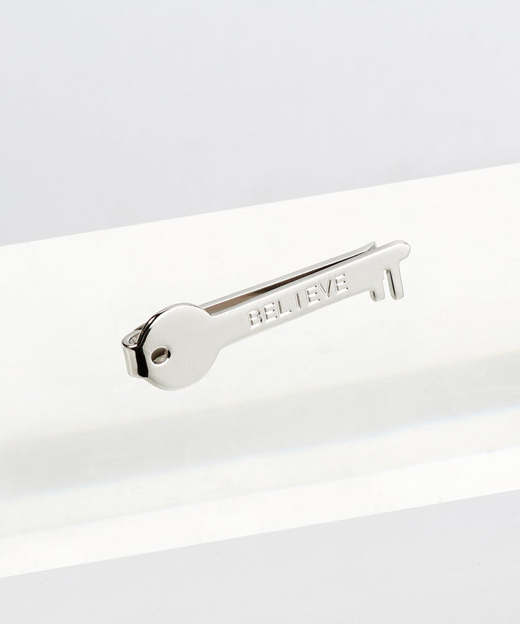 Inspirational Tie Clip Accessories The Giving Keys BELIEVE SILVER