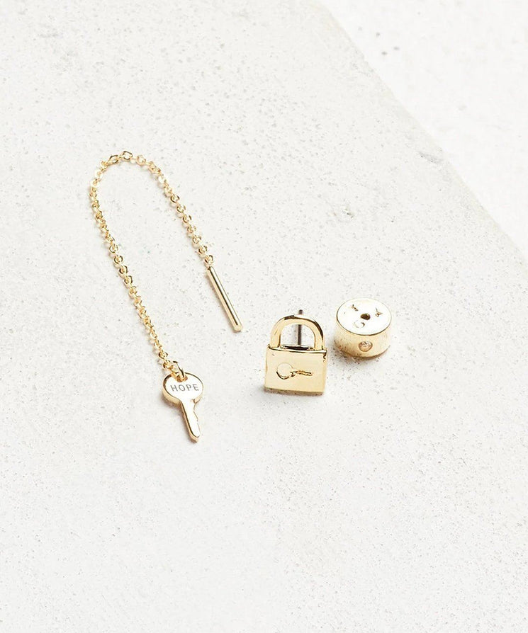 Mini Key Threader and Padlock Earring Set Earrings The Giving Keys HOPE Gold