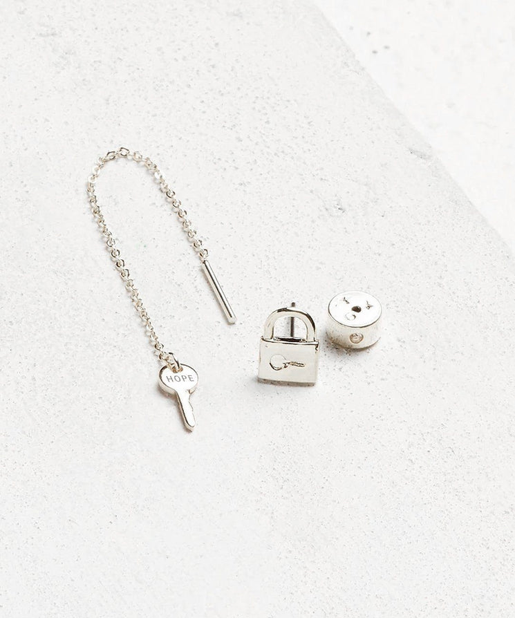 Mini Key Threader and Padlock Earring Set Earrings The Giving Keys HOPE Silver