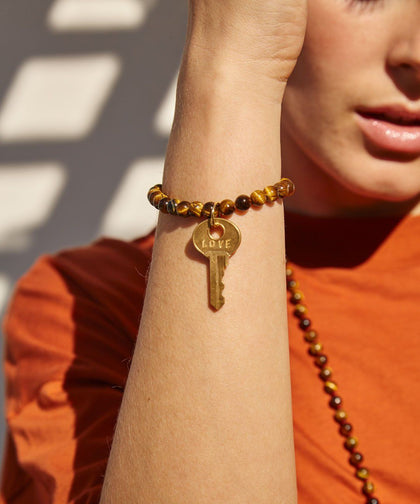 Tiger's Eye Meditation Bead Key Bracelet Bracelets The Giving Keys | Lifestyle