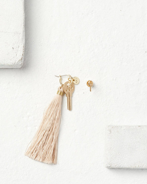Statement Tassel Asymmetrical Key Earrings
