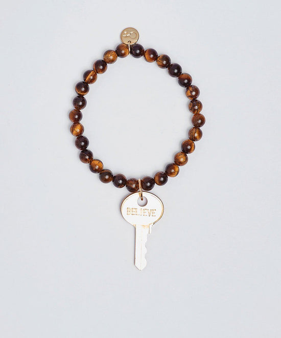 Tiger's Eye Meditation Bead Key Bracelet Bracelets The Giving Keys BELIEVE Gold