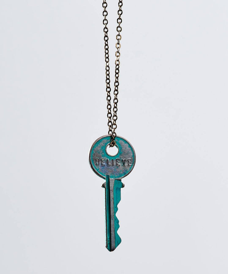 Pay It Forward Patina Classic Key Necklace In Turquoise Necklaces The Giving Keys Believe TURQUOISE