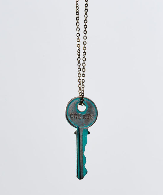 Patina Classic Key Necklace In Turquoise Necklaces The Giving Keys Create TURQUOISE