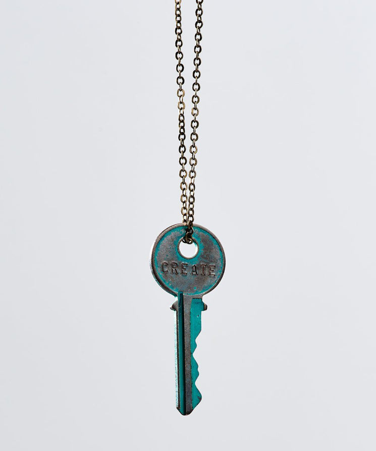 Pay It Forward Patina Classic Key Necklace In Turquoise Necklaces The Giving Keys Create TURQUOISE