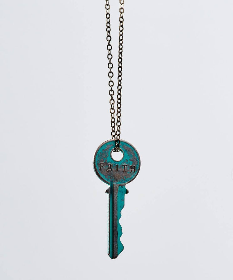 Patina Classic Key Necklace In Turquoise Necklaces The Giving Keys Faith TURQUOISE