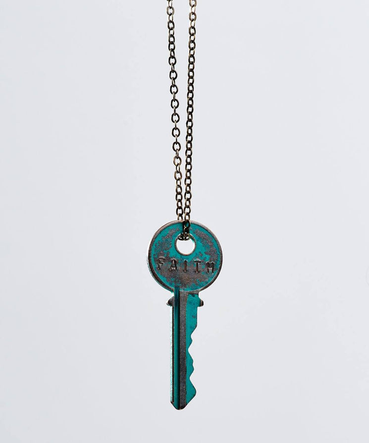 Pay It Forward Patina Classic Key Necklace In Turquoise Necklaces The Giving Keys Faith TURQUOISE