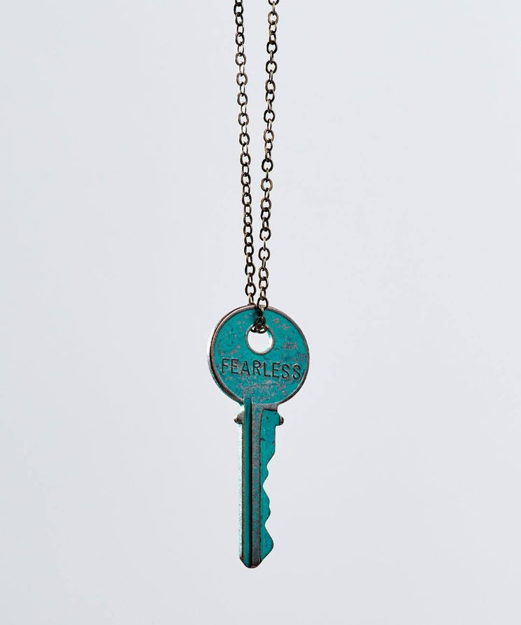 Pay It Forward Patina Classic Key Necklace In Turquoise Necklaces The Giving Keys Fearless TURQUOISE
