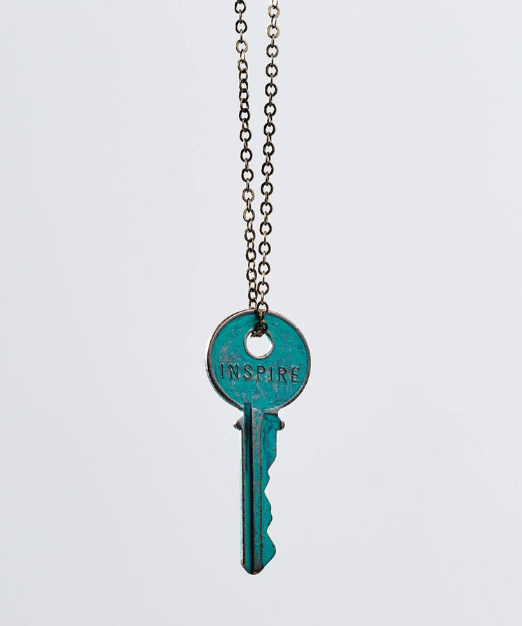 Pay It Forward Patina Classic Key Necklace In Turquoise Necklaces The Giving Keys Inspire TURQUOISE