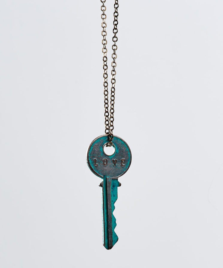 Pay It Forward Patina Classic Key Necklace In Turquoise Necklaces The Giving Keys Love TURQUOISE