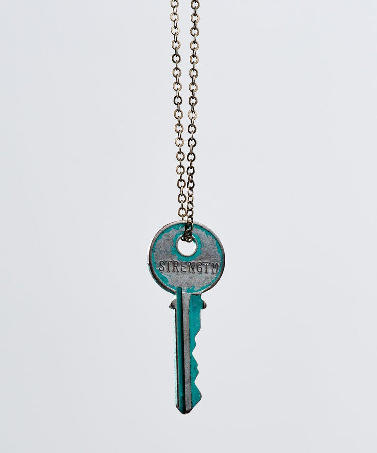 Pay It Forward Patina Classic Key Necklace In Turquoise Necklaces The Giving Keys Strength TURQUOISE
