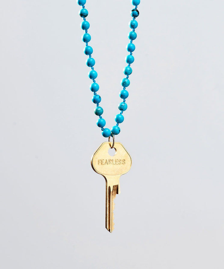 Turquoise Meditation Bead Key Necklace Necklaces The Giving Keys FEARLESS Gold