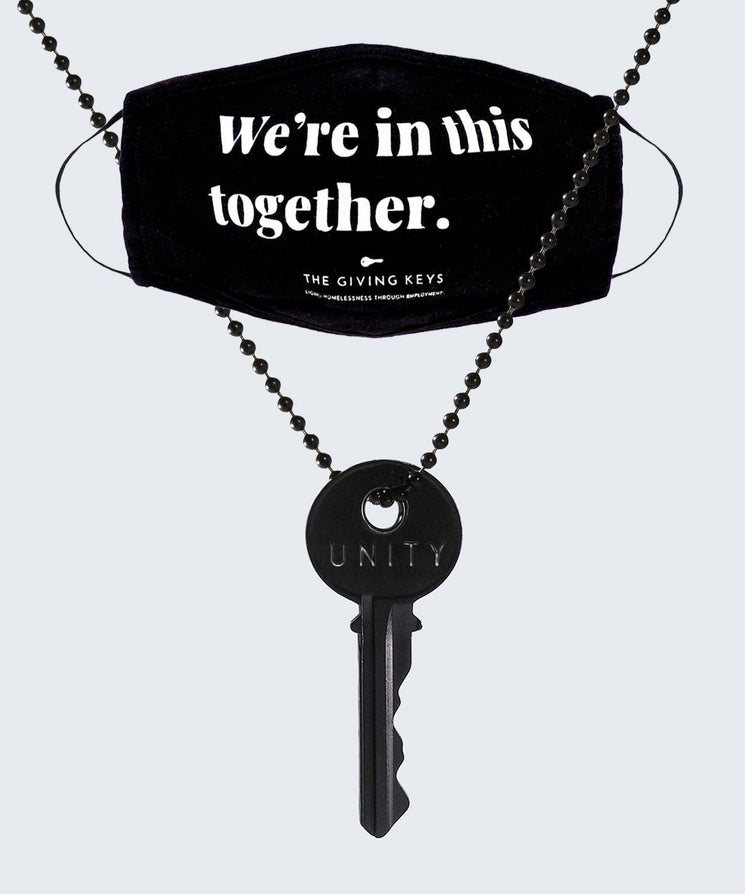 WE'RE IN THIS TOGETHER Face Mask + UNITY Matte Black Classic Necklace Bundle Necklaces The Giving Keys Black / Unity