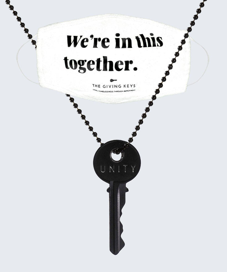 WE'RE IN THIS TOGETHER Face Mask + UNITY Matte Black Classic Necklace Bundle Necklaces The Giving Keys White / Unity