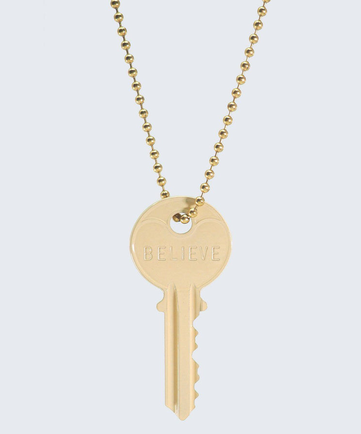 Vanilla Latte Classic Ball Chain Necklace Necklaces The Giving Keys BELIEVE GOLD
